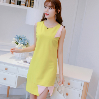 Caidaifei Korean-style spring and summer New style Women's Plus-sized sleeveless dress (Yellow) (Yellow)