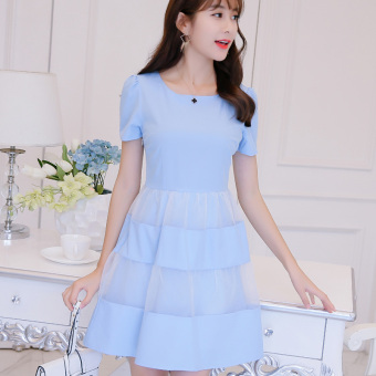 Caidaifei Korean-style spring and summer New style Women's short sleeved dress versatile bottoming dress (Sky blue) (Sky blue)