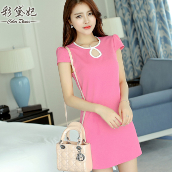 Caidaifei sexy Slim fit short sleeved porous base skirt Korean-style knit dress