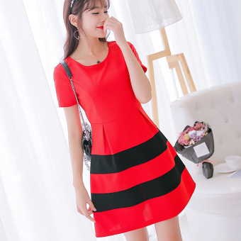 CALAN DIANA Women's Korean-style Knitted Short Sleeve Dress (Red)