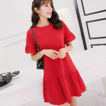 CALAN DIANA Women's Korean-style Large Size Knitted Short Sleeve Dress (Red)