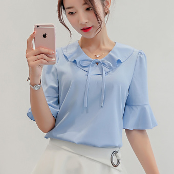 CALAN DIANA Women's Simple Chiffon Bottom Shirt Color Varies (Sky Blue 214)