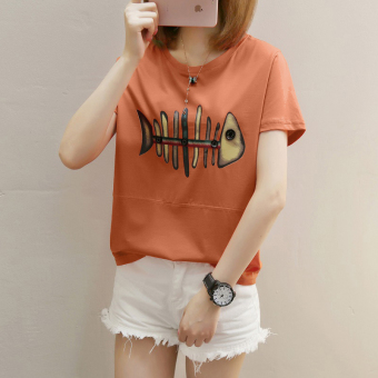 Cartoon girl Print 2017 Korean-style summer short-sleeved female T-shirt student Short sleeve Top loose tide compassionate small shirt (271 * Fish orange)