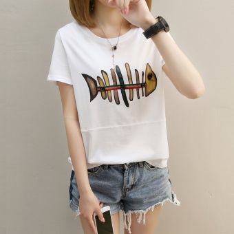 Cartoon girl Print 2017 Korean-style summer short-sleeved female T-shirt student Short sleeve Top loose tide compassionate small shirt (271 * fish white)
