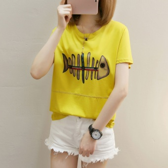 Cartoon girl Print 2017 Korean-style summer short-sleeved female T-shirt student Short sleeve Top loose tide compassionate small shirt (271 * fish Yellow)