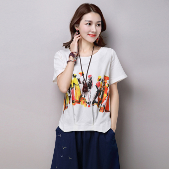 Casual cotton linen printed Plus-sized T-shirt (White)