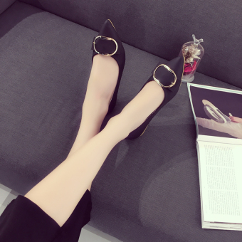 Casual female foot covering shoes New style flat shoes (Black)
