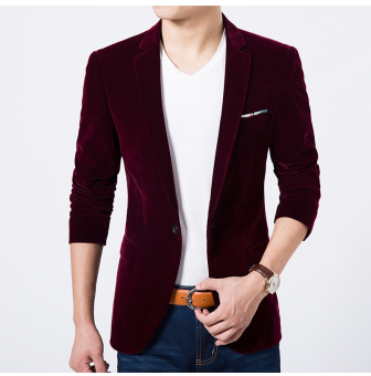 Casual gold velvet Thin Men's Top suit jacket (Wine red color)