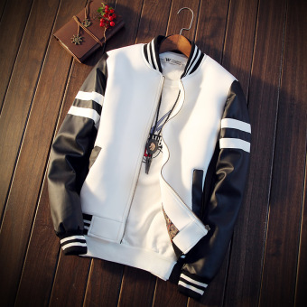 Casual Spring and Autumn Teenager spring jacket Leather (White)
