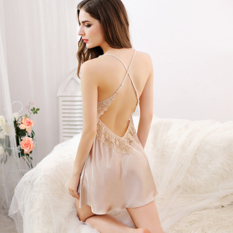 Champagne color women lace hollow sexy pajamas sling lingerie (Champagne color)