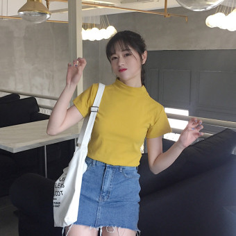 Chic Han Feng female spring New style tide cotton short-sleeved t-shirt (Yellow)