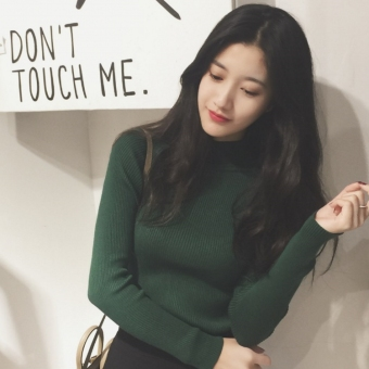 Chic Korean-style style Slim fit slimming versatile long-sleeved sweater (Dark green color)