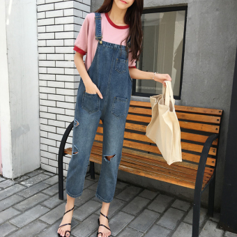 Chic New style loose Slimming effect hole tide denim overalls