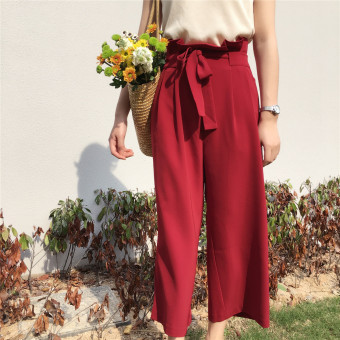 Chic retro style high-waisted ankle-length wide leg pants (Retro red) (Retro red)