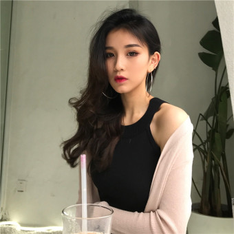Chic sexy knitted solid color women base shirt Top (Black) (Black)