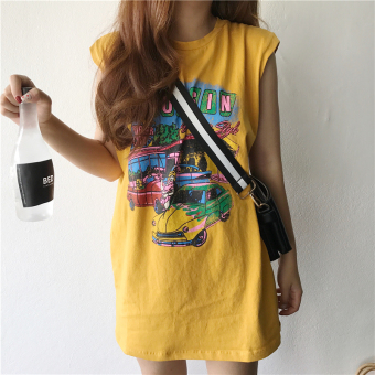 Chic summer long paragraph style Hong Kong flavor retro vest dressT-shirt (Ginger yellow) (Ginger yellow)
