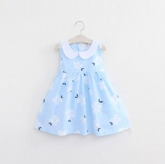 Child Summer Cotton female baby dress girls dress (Light blue) (Light blue)