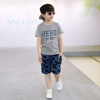 Children children's clothing boys summer 2017 New style cottoncasual short-sleeved sports suit small medium large boy summerinflux of baby