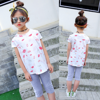 Children's Short sleeve base shirt girls short sleeved t-shirt (Red Tuan Top)