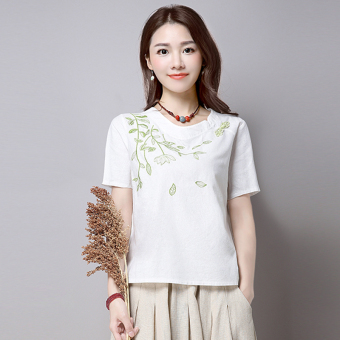 Chinese-style national style cotton linen Women's Plus-sized embroidered Top solid color round neck short sleeved t-shirt (White) (White)