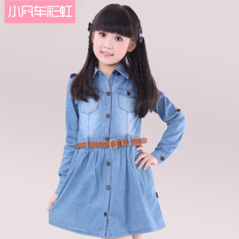Clearance Spring and Autumn dress princess girls dress children'sclothing Korean-style denim dress Spring and Autumn dress largechildren girl skirt
