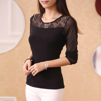 Cloth Chatter Court Women's Lace Fleece-lined Long Sleeve Bottom Shirt- Black (Single-lace black)