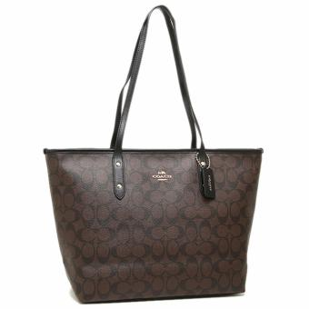 COACH CITY ZIP TOTE IN SIGNATURE (DARK BROWN)