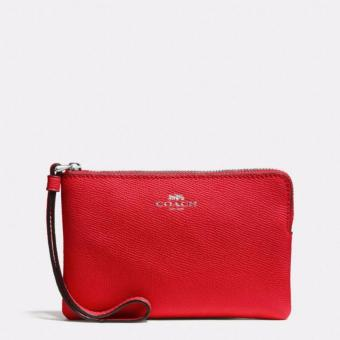 Coach F58032 Corner Zip Crossgrain Leather Wristlet (Bright Red)