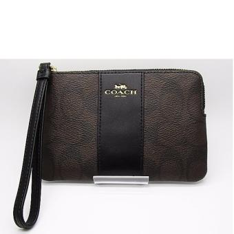 Coach F58035 Corner Zip Wristlet in Signature Coated Canvas (Dark brown)
