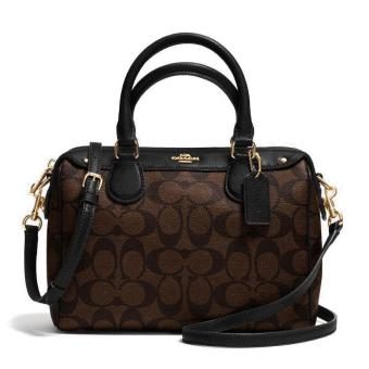 Coach Signature Mini Bennett Satchel Handbag Black / Brown # F36702