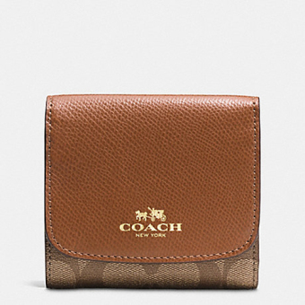 Coach Small Tri-Fold Wallet In Signature Brown