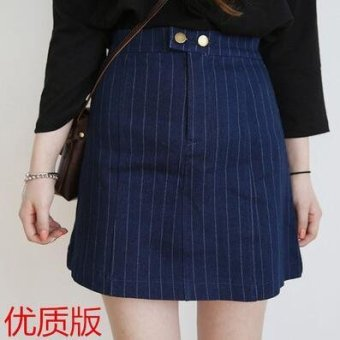 College style Spring and Autumn New style striped high-waisted skirt