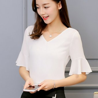 Color Diana New style Slim fit bottoming short-sleeved chiffon Shirt shirt (White) (White)