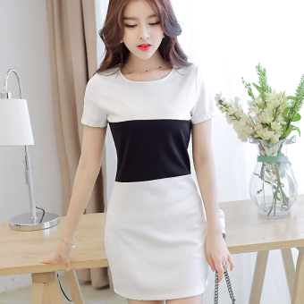 Color Diana Slim fit knit short-sleeved dress Plus-sized Women's (White) (White)