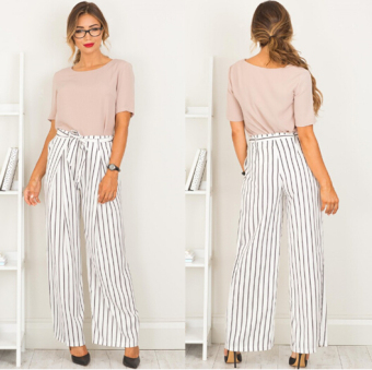 Color large striped fork female trousers