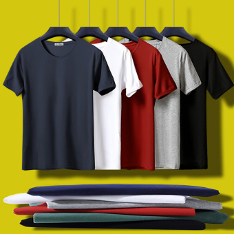 Cotton men warm on the T-shirt solid color short sleeved t-shirt (Short-sleeved o collar-black + white + coffee) - 2