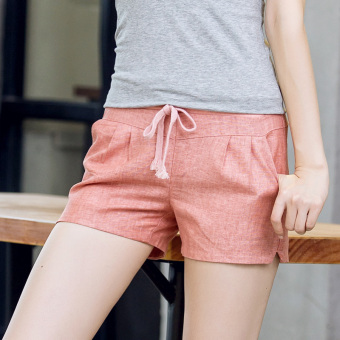 Cotton shorts Female Summer linen pants sports casual pants werethin shorts candy color loose big yards wide leg pants (Pink)
