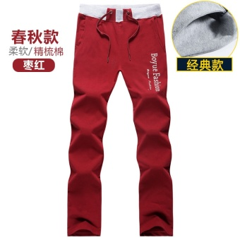 Cotton straight Loose and plus-sized casual pants sports pants (Purplish red-classic spring Models)