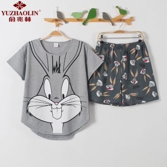 Cute cotton female short-sleeved tracksuit pajamas (Gray)