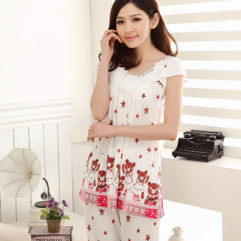 Cute Modaier cotton summer women tracksuit pajamas (White Bear star suit)