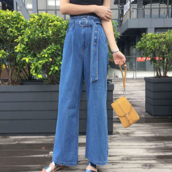 Harga Denim pants loose female Korean-style retro chic summer New stylestudent BF wild fashion wide leg pants casual pants tide