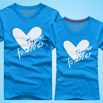 Digital lovers men and women love text couple shirt New style short-sleeved t-shirt (Sky Blue)