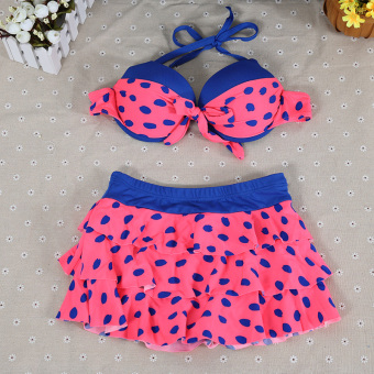 Dotted cute female split sexy dress swimsuit (Pink)