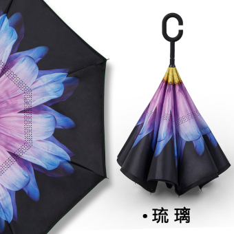 Dual skillet large people umbrella rain or shine umbrella (Take hands-free-reverse umbrella-glass)