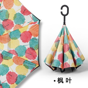 Dual skillet large people umbrella rain or shine umbrella (Take hands-free-reverse umbrella-MapleLeaf)