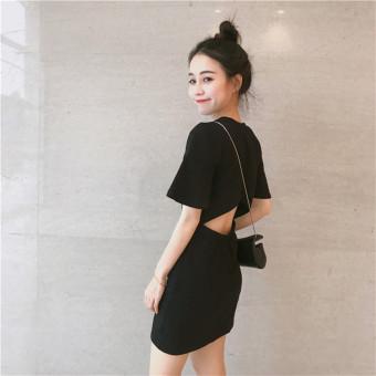 Effort retro porous small backless dress