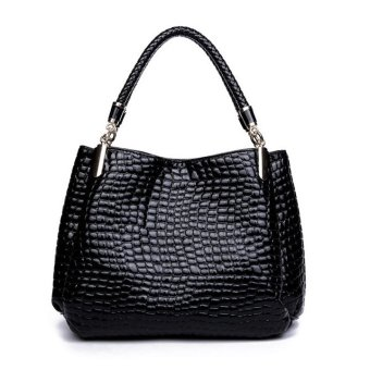 ETOP Women Ladies Leather Handbag Bag Tote Shoulder Bags Black - Intl