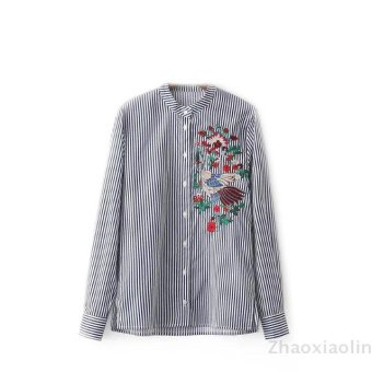 European and American striped embroidered long-sleeved shirt embroidered shirt