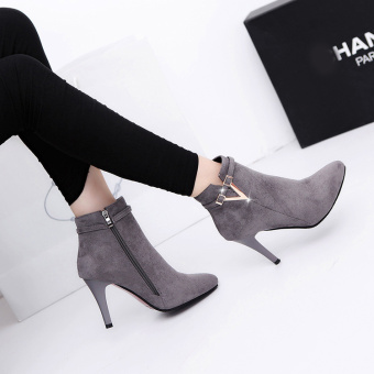 European leg Korean-style winter New style pointed suede high-heeled shoes (Gray)