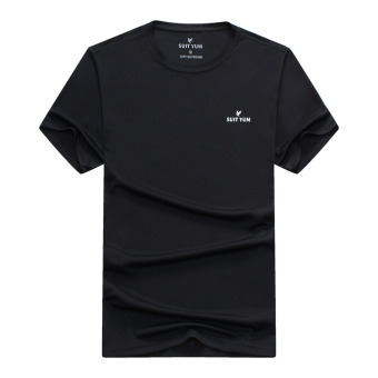 [Every day special] Summer New style outdoor short-sleevedquick-drying T-shirt male sports casual sweat breathablequick-drying clothes (Black)